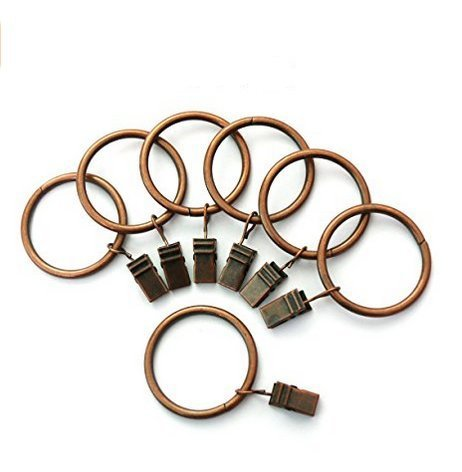Portable Set of 14 15inch Copper Curtain Rings with Clips and Hooks for Bathroom Shower Rod