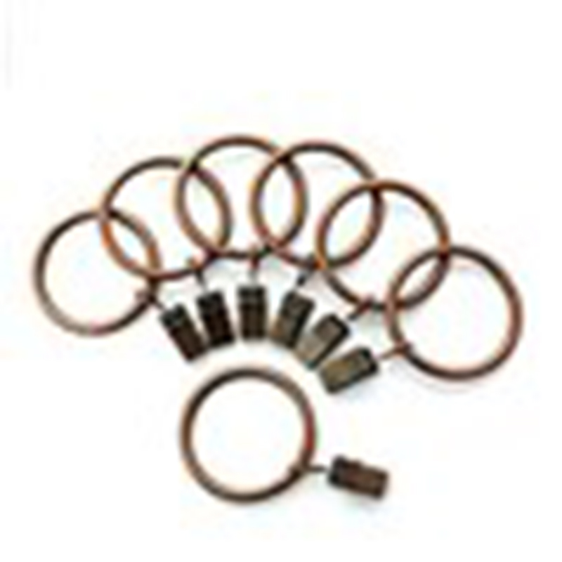 Portable Set of 14 1.5inch Copper Curtain Rings with Clips & Hooks for Bathroom Shower Rod