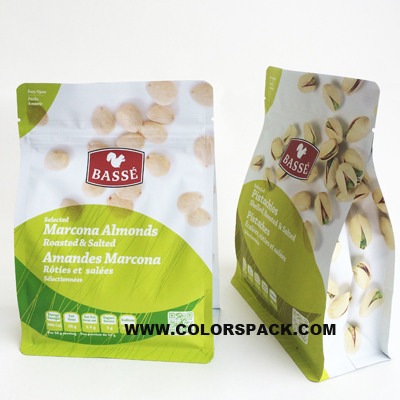 Nuts Packaging Flat Bottom Bag with Pocket Zipper