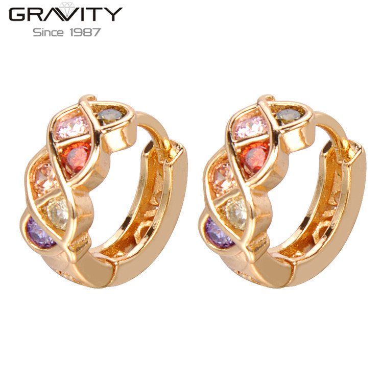 Saudi 22k Gold Jewelry New Design Colorful Stone Gold Earrings for ...