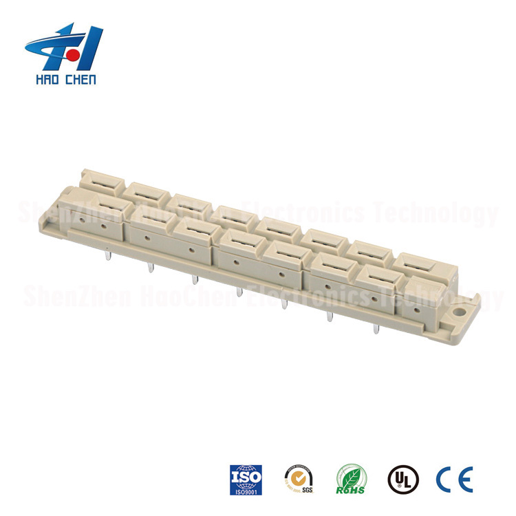 2 Rows Ph5.08mm DIN41612 Euro Connectors 15PIN High-Current Female Straight&Male Right Angle