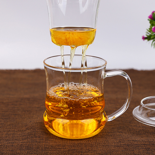 wholesale three part glass tea maker glass coffee mugs with filter cup