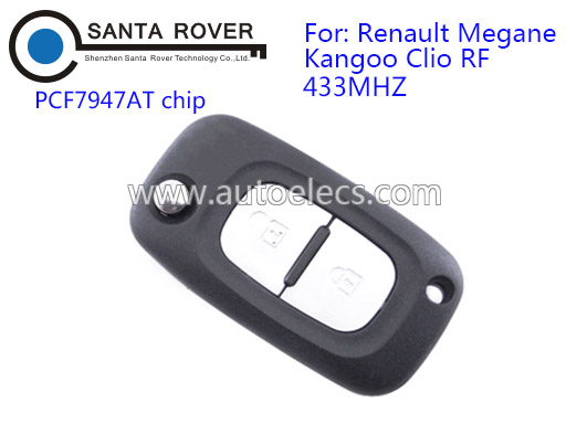 High Quality Renault Megane Kangoo Clio RF 2 Button Remote Flip Key PCF7947AT Chip 433Mhz