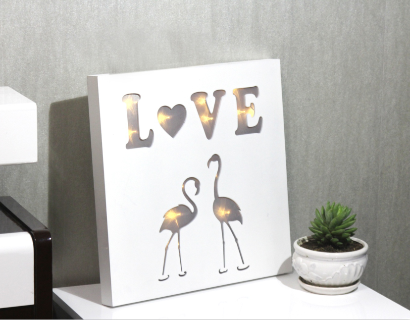 White Wall Hanging Love & Swan LED Wooden Light Box Home Decoration ...