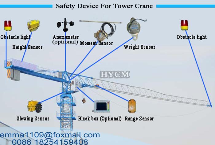 QTZ125 PT6016 Flat Top Crane Tower 10tons Load 60m Jib Arm