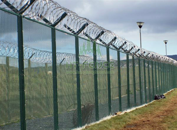 High security fence with razorbarbed wire