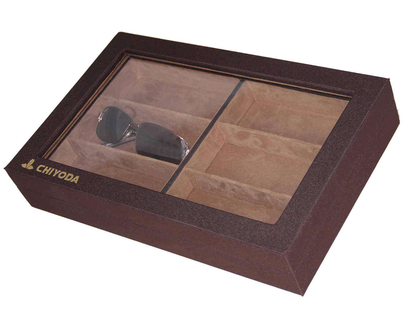 CHIYODA 6 Grid Eyeglasses Sunglasses Storage Case Holder Jewel Display Case Radiata Pine Box Organizer