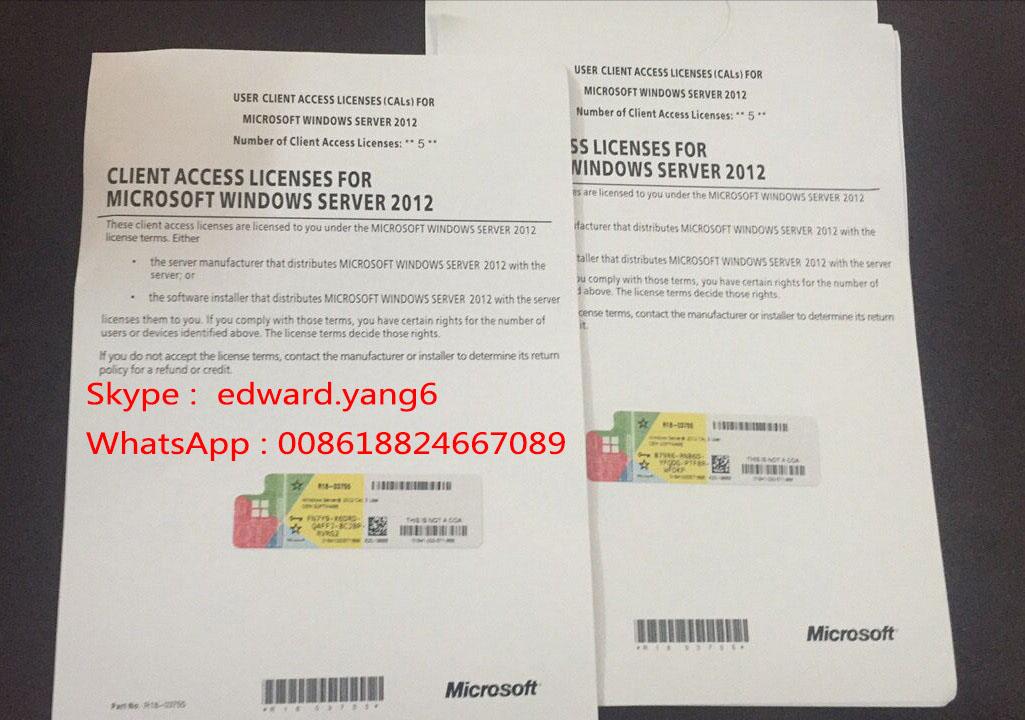compatible with Server 2012 CAL Genuine Original License Key Code COA Activation Label Sticker cert