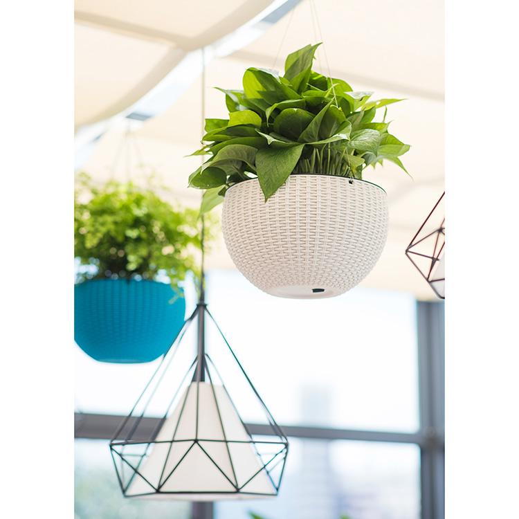 Self Watering Flower Pot Hanging Basket Desktop In Rattan Design
