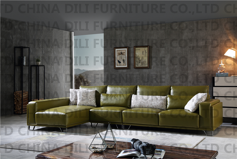 Modern Living Room Real Leather Sofa L Shaped Sofa from ...