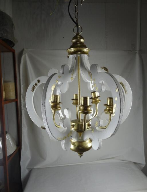 YL-LT1001 Wholesale Farmhouse Vintage Wooden Chandelier 6-Lights Wrought Iron Crown Pendant Lighting with UL/CE