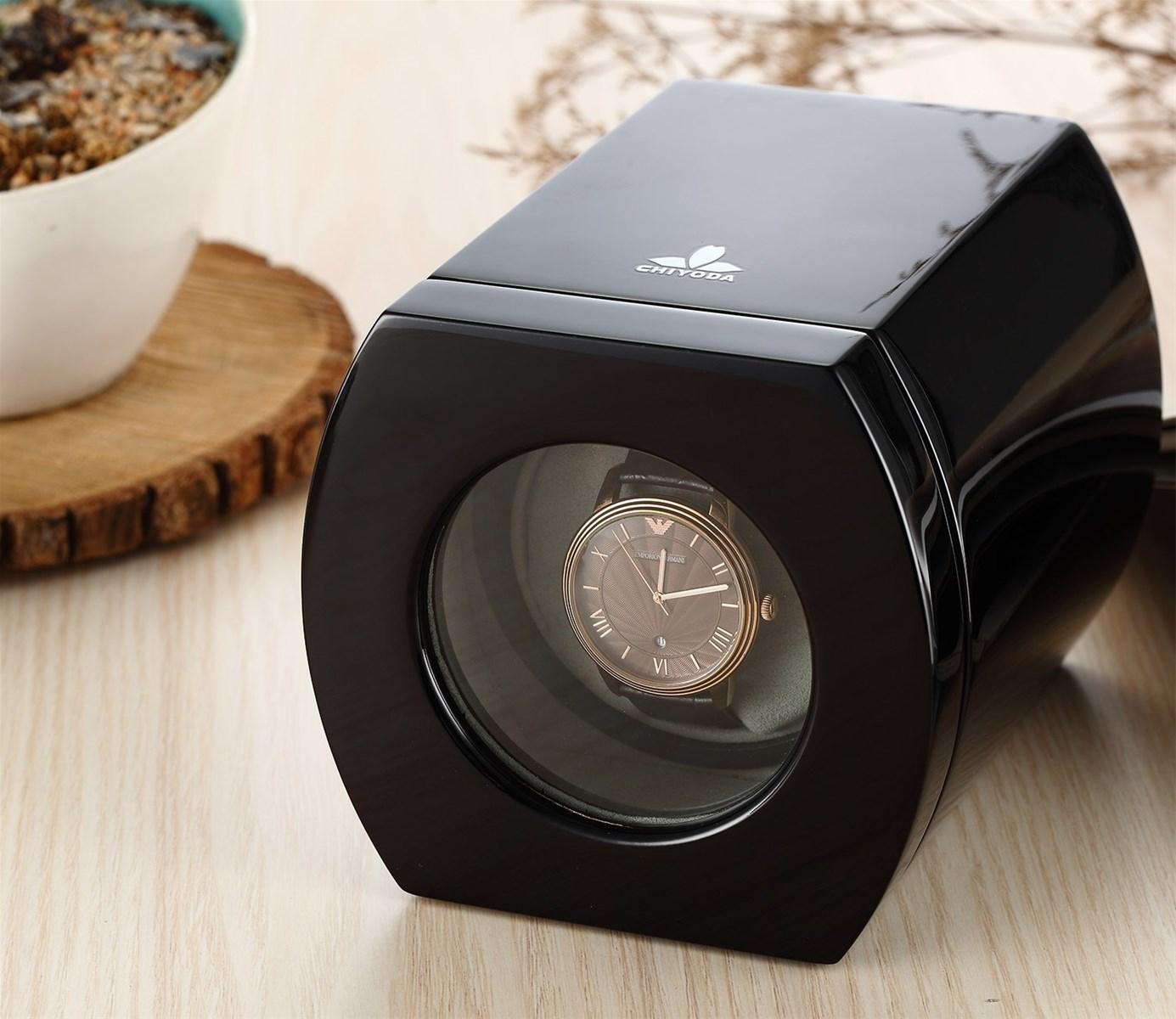 CHIYODA Automatic Single Watch Winder with Quiet Mabuchi Motor Black