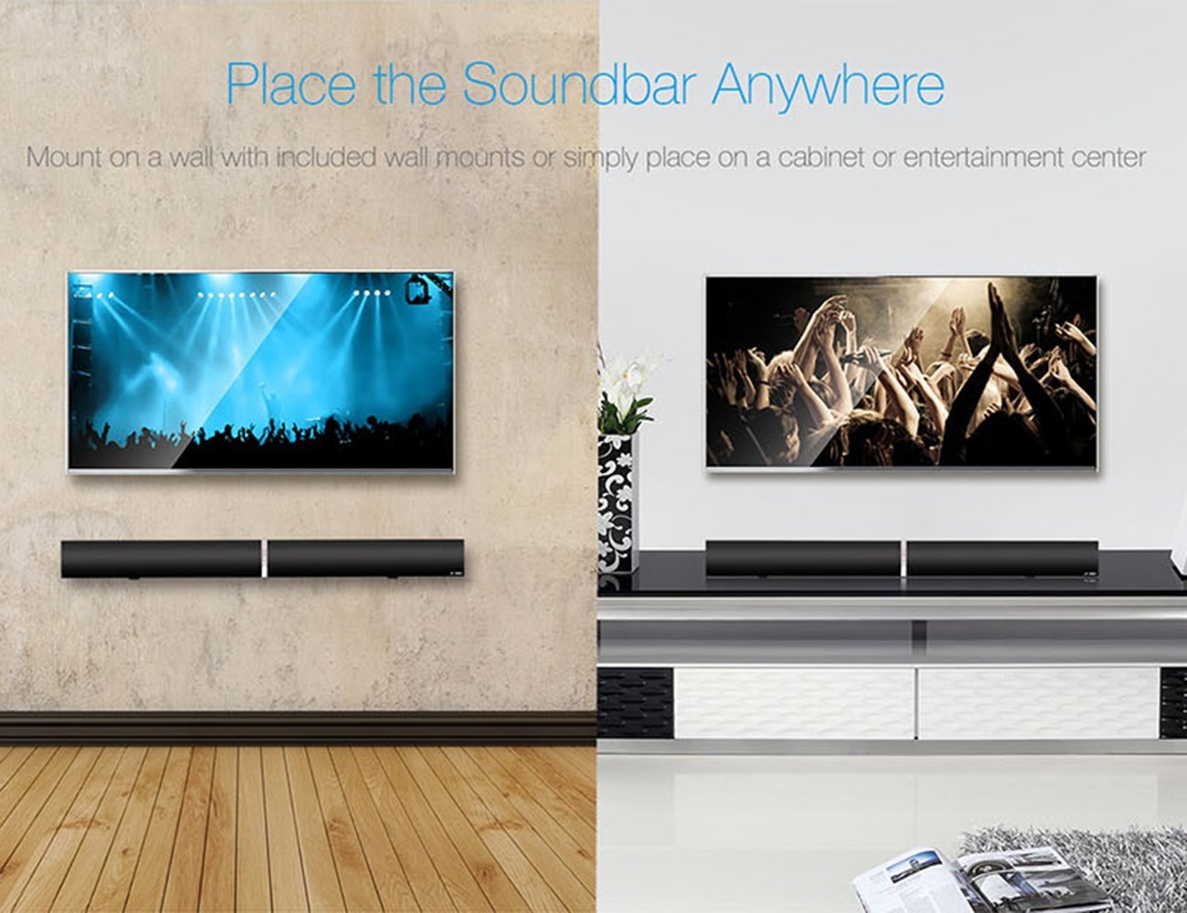 LuguLake TV Sound Bar 3D Surround Wireless Speaker for Home Theater39 inch 40 Watts MultiConnection USB Wall Mount