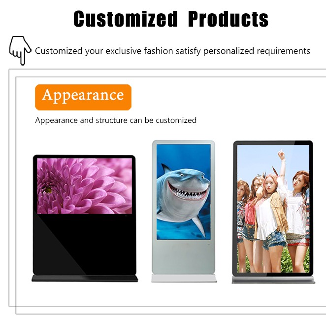 55 inch standing double side lcd advertising player with digital signage screen and android pc system