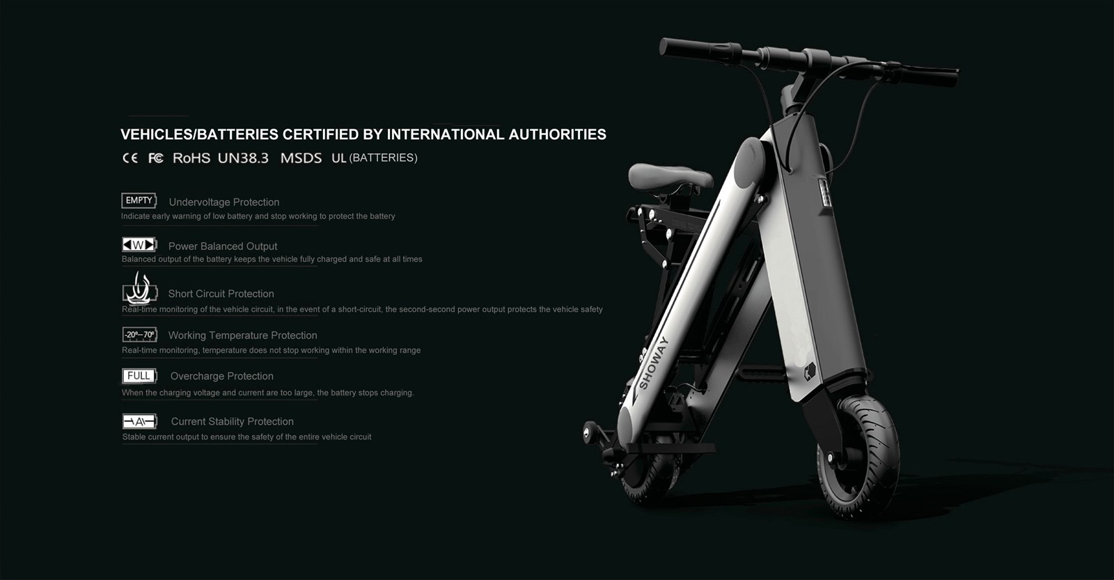 Showay1 8inch EBike Mini Foldable Electric Bike Folding Electric Bicycle with Aluminium Alloy Frame