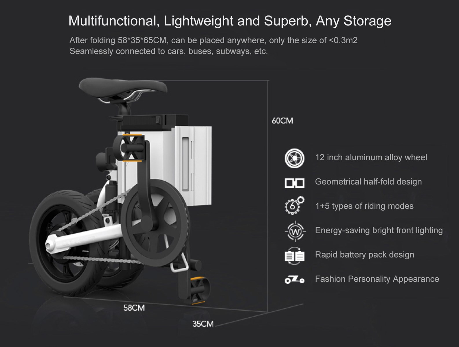 Showay5 Foldable Electric Bike Folding Electric Bicycle with Multiple Modes and 50AH 18650 Lithiumion Battery