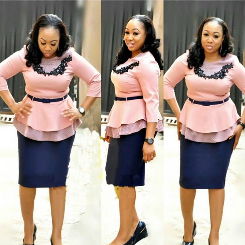 Hot Sale African Women Office Wear Plus Size Top & Skirt ...