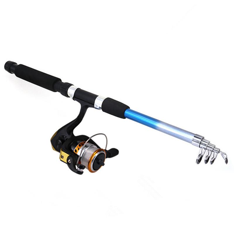 DEUKIO Fishing Rod Sets Junior Fishing Tackle Accessories With Fish Tackle Set Retractable Rod Combo Metal Reel