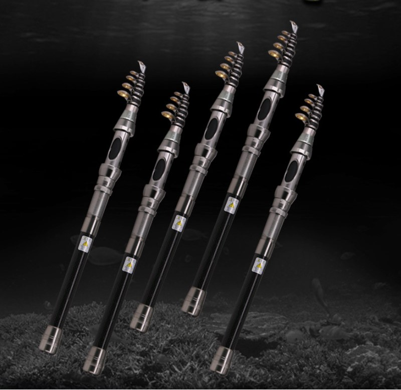 DEUKIO 15M Carbon Fiber Mini Pocket Telescopic Fishing Rod Pole with Ceramic Guide Ring Boat Sea Fishing Tackle Tool
