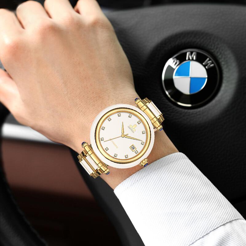 CHIYODA Mens Automatic Mechanical Watch Jade Watch Luxury Sapphire Mirror White Jade