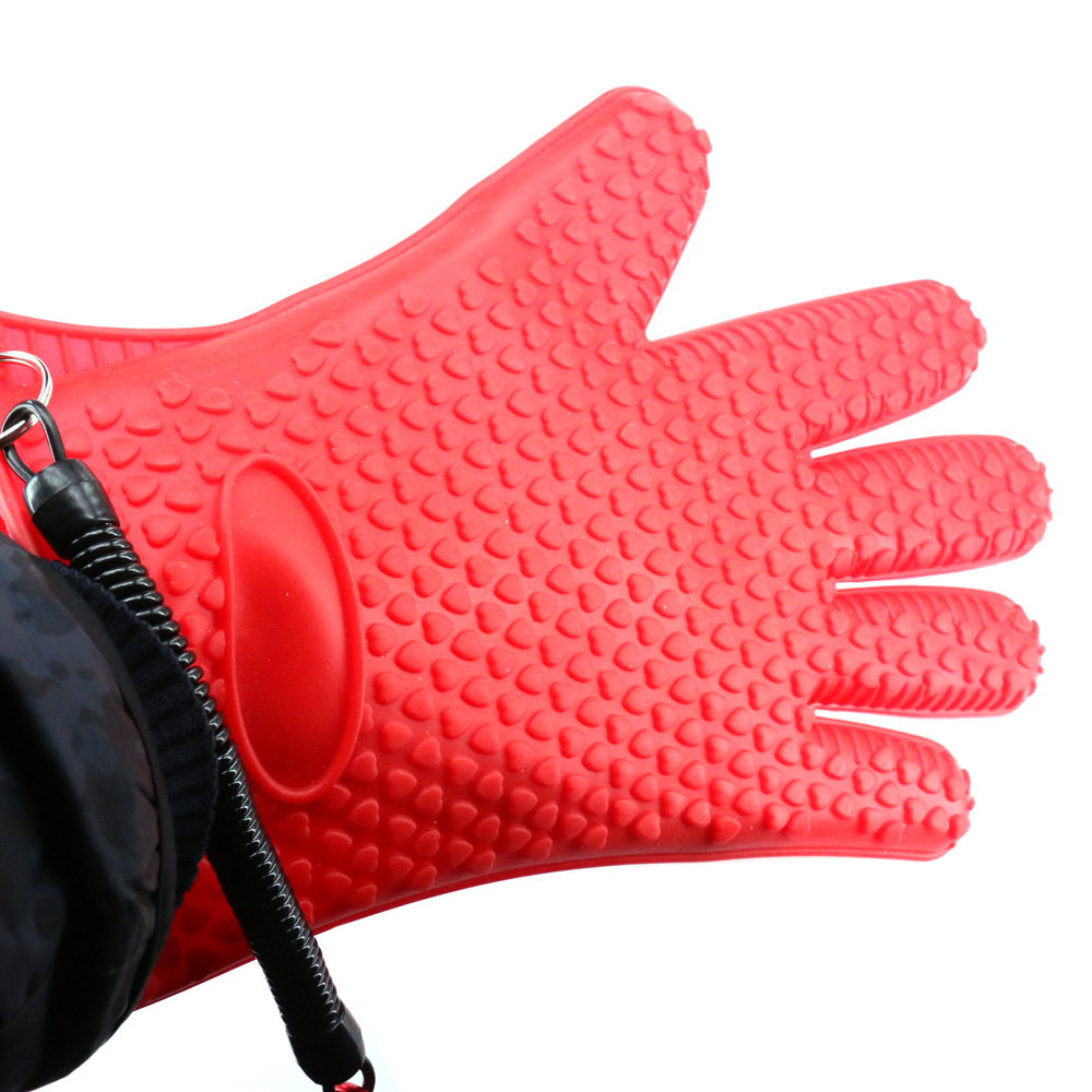 DEUKIO Red AntiSlip Fishing Gloves Rubber Fish Catching Glove Hand Protection Fishing Gear Tackle Unisex Full Finger