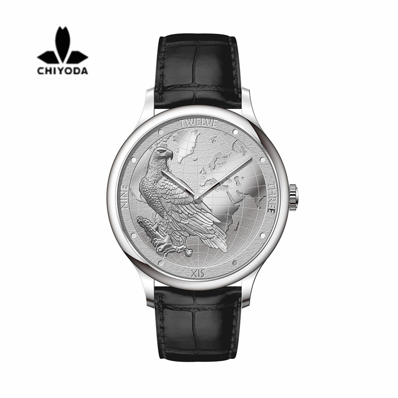 CHIYODA Luxury Platinum Watch with Carving of Map and Eagle Pattern Swiss Quartz Movement Real Cowhide StrapUnisex