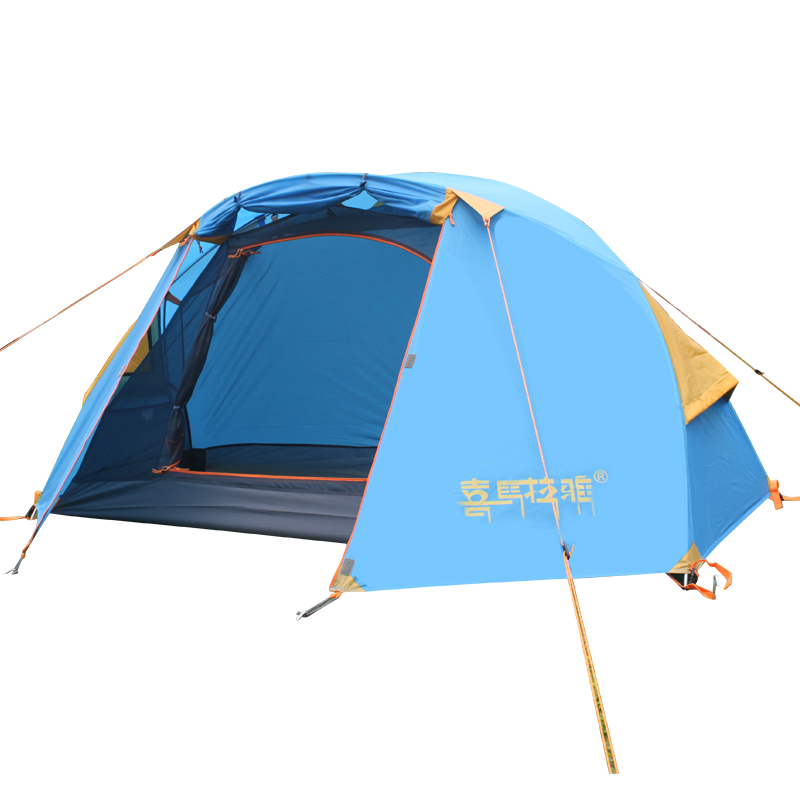 CNHIMALAYA HT9104B Outdoor Single Camping Tent Double Layers Aluminium Pole Waterproof Professional Tent - Blue