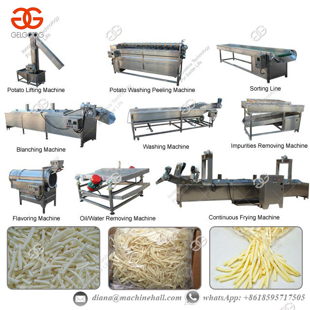 Fully Automatic Frozen French Fries Production Line with 500 Kg/h