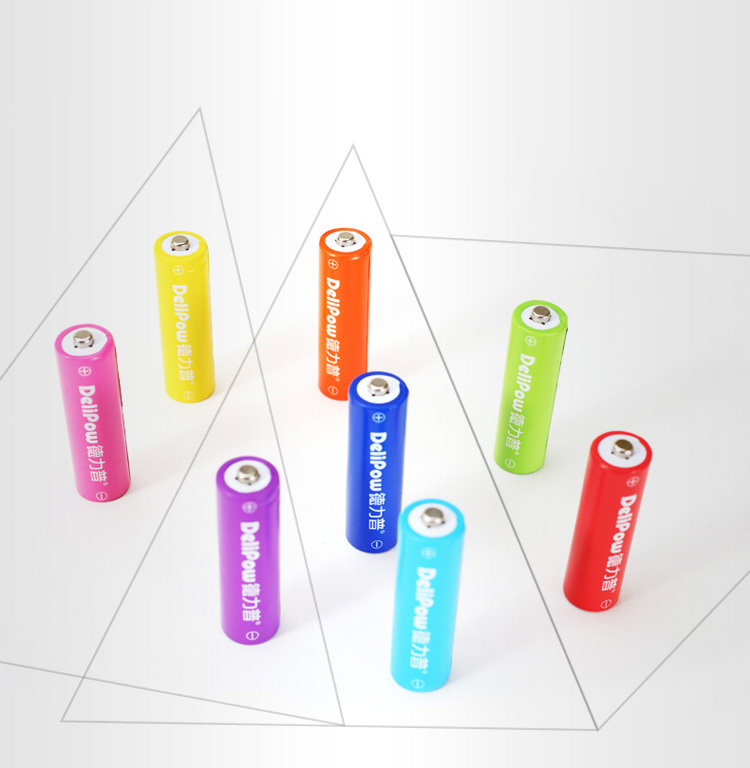 Delipow AA Rechargeable Battery for Toy Mouse Keyboard Microphone Rainbow Colorful 8Pcs Rechargeable Batteries