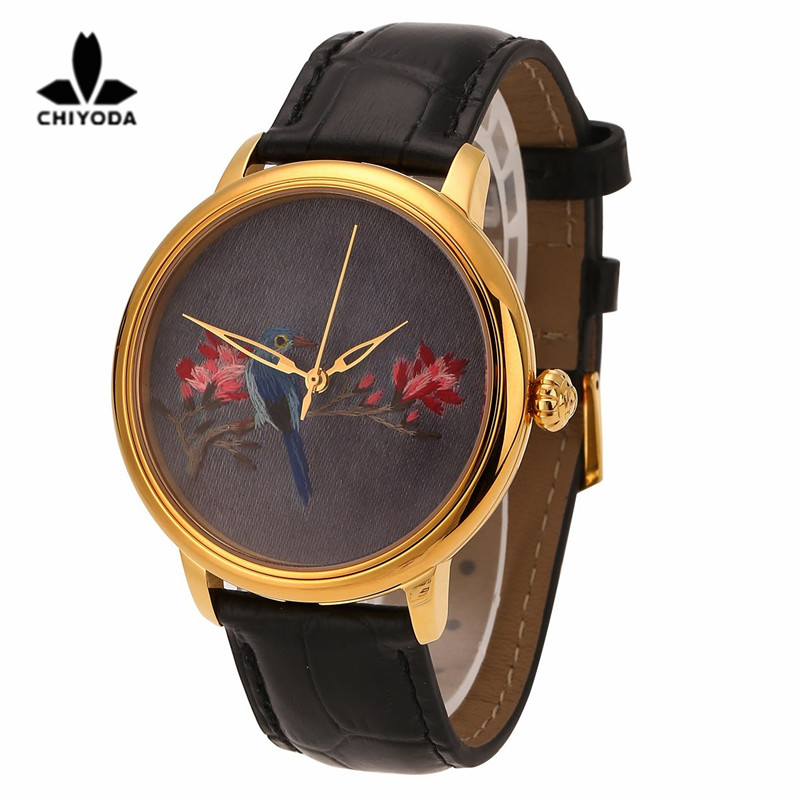 CHIYODA Mens Stylish Embroidery Watch with Gold Case Embroidery 06