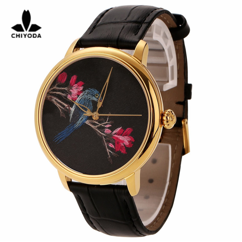 CHIYODA Womens Stylish Embroidery Watch with Gold Case Embroidery 05