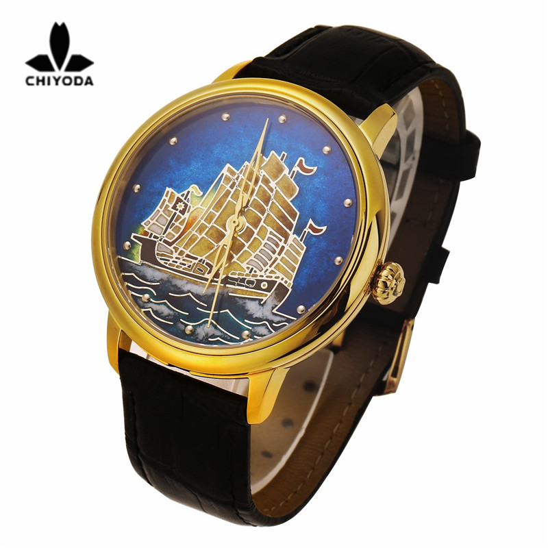CHIYODA Womens Luxury Gold Watch Enamel Painting Automatic Watch with Swiss Movement Leather Strap Enamel 13