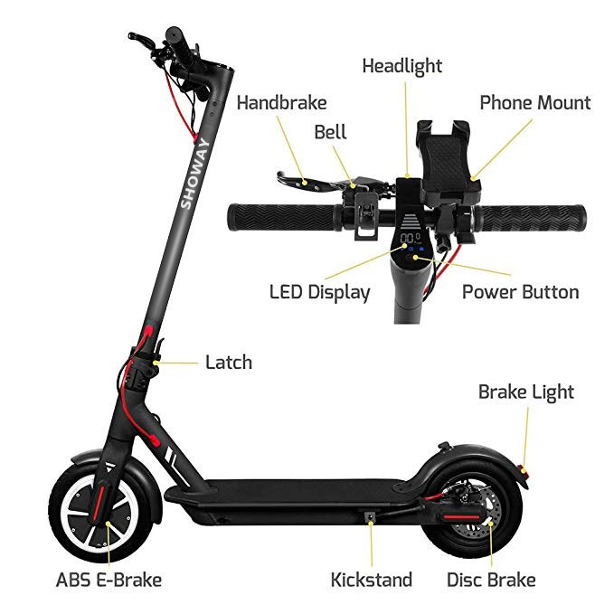 ESS001PS Portable Foldable Electric Smart Scooter with Aluminum Alloy Tubeless Rubber Tires APP Control