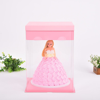 Food Grade, Transparent, Handle, Custom, Cake Packaging Boxes with PET Window, PET Cake Packing Boxes, Plastic Box.
