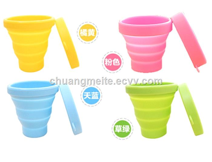 Eco-Friendly Universal Traveling Convenient Fold Flexible Portable Silicone Cup