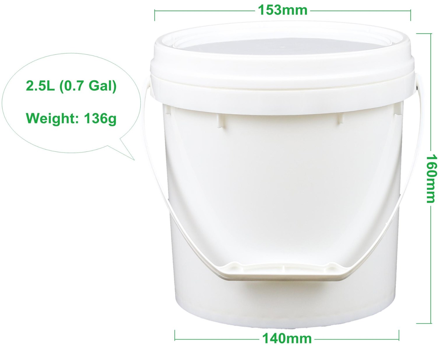 White Round Food Grade Ice Cream 2.5 Liter Plastic Bucket with Lid & Handle