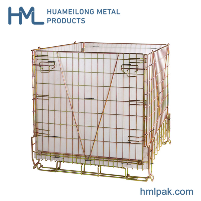 Returnable Foldable & Stackable Metal Zinc Plate Pet Preforms Wire Mesh Steel Storage Cargo Pallet Cages with PP Sheet