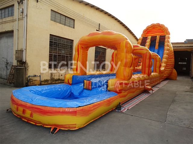 Marble Yellow Color Giant Long Inflatable Water Slide with Pool