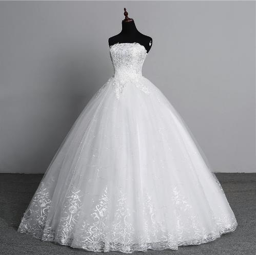 Real Photo Simple Lace Flower Strapless off White Fashion ...