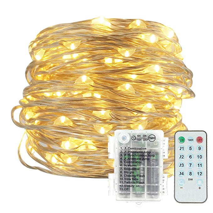 Music String Lights, 12 Modes Battery Operated Twinkle String Lights with Remote Timer for Bedroom Wedding Party