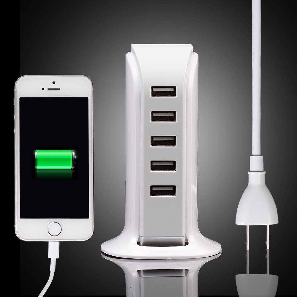 5 Port Multi USB Charger Desktop Wall Home Travel Power Adapter Charging Stations