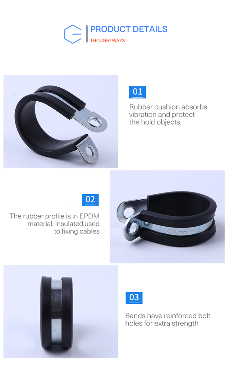 Black P Rubber Cushioned Insulated Pipe C Clamp