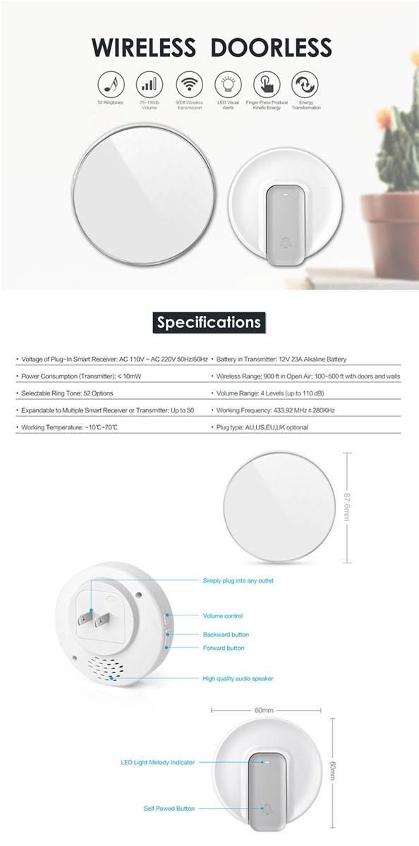 52 melodies doorbell IP44 door bell button 500 feet work range batteryfree wireless kinetic door chime