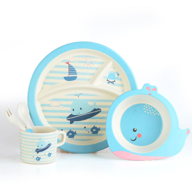 Cathylin New Arrival Bamboo Fiber Kids Dinnerware Set, Cartoon Pattern Dinner Plates Set Unbreakable Dinnerware