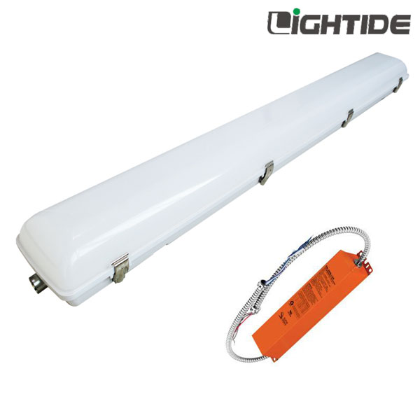 50W 4ft Linear Vapor-Tight LED High Bay Light Emergency Backup, Ni-MH 90min. 100-277vac, 5yrs Warranty