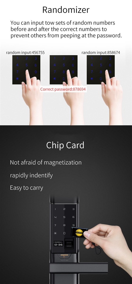 S9fingerprint locks smart locks Fingerprint password electronic smart card lock with automatic sliding cover
