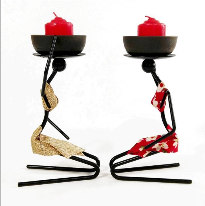 Banquet Party Snack Dish Tableware Stand Iron Candlestick African Woman Decoration Candle Holders