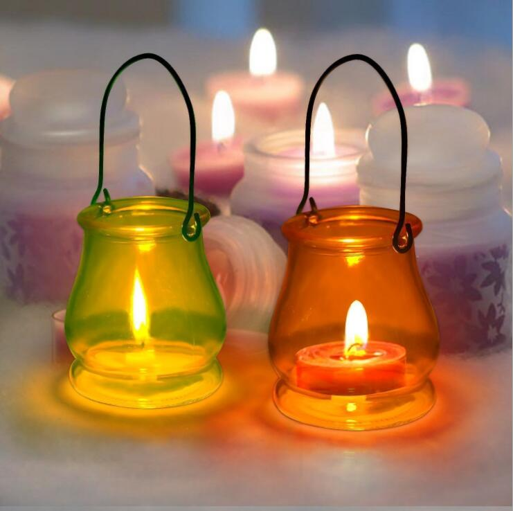 Glass Hurricane Lamp Hanging Glass Candle Jar Glass Container for Wax, Tealight, Votive