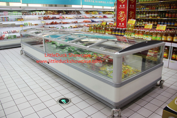 Supermarket Glass Door Island Freezer for Frozen Foods