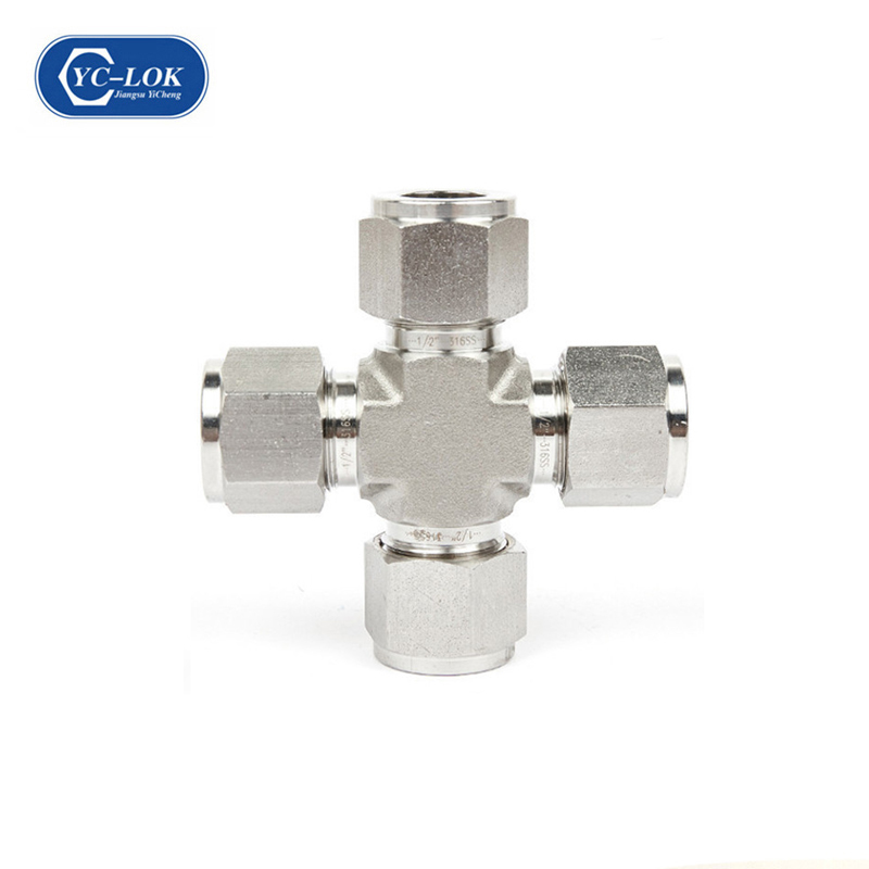 XE Tee Metric Male o-Ring Cross Stainless Steel 4-Way Cross Coupling Joint